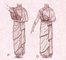 Early Assyrian costume patterns using drapery with 2 draped shawls.