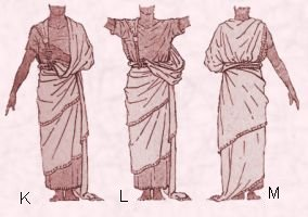 Costume history - early Assyrian draped shawl.