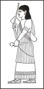 Assyrian  frigned shawl wrapped around the body so that it is draped.