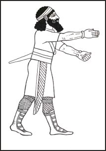 Assyrian hunter witha shorter tunic and small shawl to enable greater activity.