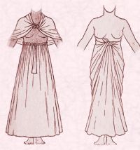 The length of fabric could also be worn as an Egyptian skirt wrapped and passed around the body, tying it at the front.