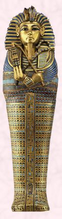 King Tut's coffin covered in rich pattern and ornamentation.