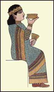 Costume Queen of King Assur-bani-pal who ruled in the seventh century B.C.