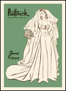 1940s Butterick Magazine Pattern Covers - 1940 Wedding Dress