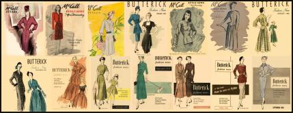 1945-1950 McCalls and Butterick Magazine Dressmaking Pattern Design Covers