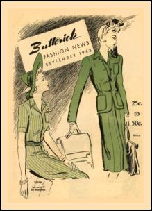 1940s Butterick Magazine Pattern Cover of Suits of 1943