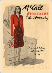1940-1945 Picture of McCall Magazine Pattern Cover 1945
