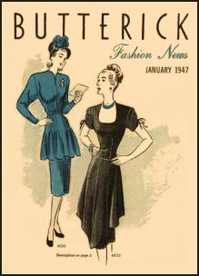 1945-1950 Butterick Magazine Dressmaking Pattern Design Covers 1947