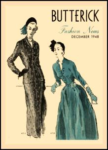 1945-1950 Butterick Magazine Dressmaking Pattern Design Covers 1948