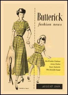 1945-1950 Butterick Magazine Dressmaking Pattern Design Covers 1949