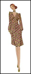 1971 Dress in small print apttern.