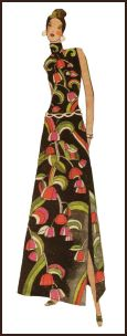 1971 Print maxi dress pattern design