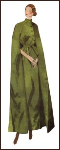 1971 Pattern design for a maxi cloak.