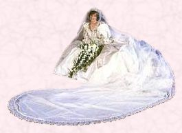 HRH Princess of Wales, Diana in her full sleeved wedding dress in 1981 the era of power shoulders.