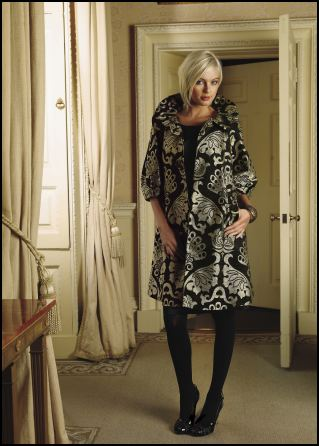 Emma Somerset Autumn/Winter 2007 - Occasion Wear - Brocade puff sleeve coat �325 and shift dress �99 by Oky Coky. Printed bangle �28 by Emma Somerset.  OkyCoky is collection from the Spanish design duo Geli Torres and Sandro Portela.