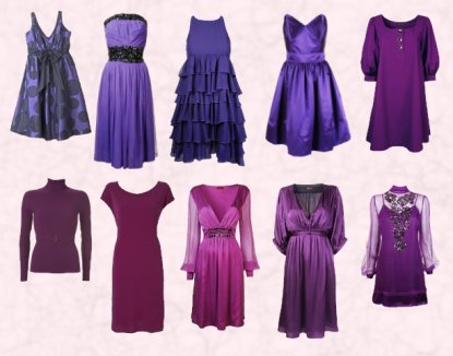 A seelction of 9 purple autumn winter 2007 high street dresses all from the Arcadia group.