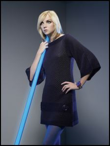 Dorothy Perkins Autumn/Winter 2007. Left - Navy knitted tunic dress �30/�45, Cobalt cuff �8/�12