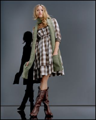 Check Dress �35/�55, Scarf �15/�23, Cowboy Boots �75/�120 all from the Land Girls collection for Autumn Winter 2007/8 at Miss Selfridge.