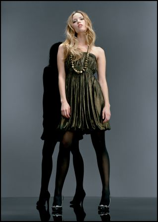 Gold Bubble Boob Tube Dress �50/�80, Brogue Stilettos �35/�55. Miss Selfridge going out dress from the Glitter Grunge collection.