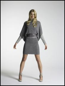 New Look Autumn/Winter 07/08 Collection - Womenswear Legend Silver lurex knitted dress �35/50�, Grey jersey polo neck �10/14.50�, Silver mesh belt �12/17�, Showgirl brooch �8/11�, Cream shoes �35/50�.