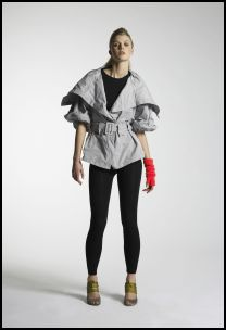 New Look Autumn/Winter 07/08 Collection - Body Conscious Womenswear - Grey big collar belted jacket �40/58�, Black vest �4/6�, Black leggings �6/9�, Neon pink arm warmer �3/4�, Grey shoes with green laces �35/50�.