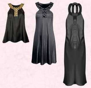 Near Left - Black top with gold coin detail around neckline �30 �47 and from Dorothy Perkins October 2007. Dorothy Perkins Autumn Winter 2007 - Black Lurex dress with beaded neckline �28/�44.  Far Right - Monsoon Autumn Winter 2007 - Sienna Dress in black - �135/�210 and in store from October.