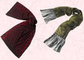 You could kill three fashion trends in one go with this cashmere scarf in a red animal print or the luxurious green long snakeskin print scarf with its long fringe