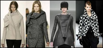 2008 Fashion History. Mixed Sculptured Coat Designs by Jil Sander, Rick Owens and Armani.