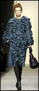 Inky blue Bottega Veneta coat with origami like folds of fabric  - Fashion-era fashion trends AW2008/9