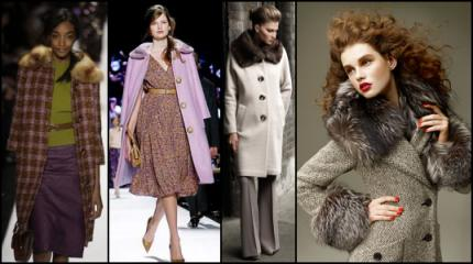 2008 Fashion History. Fur Collar Check Coat by Michale Kors.2. Lilac Coat by Michael Kors. 3. Wallis - Stone Fur Collar Cocoon Coat. 4. Aquascutum Reaburn Grey Coat.