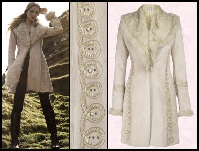 Model wearing Marks and Spencer Coat , Price: �150.00, Sizes: S-XL. The colour is called Oatmeal and the faux fur coat is available in September - Stroke no: T62 8440C.  Coat detail of embroidery and silhouette details.