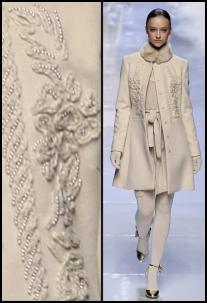 Fashion-era.com fashion trends Autumn 2008. Winter white embellished coat from Blugirl. Detail of surface texture decoration with beads.