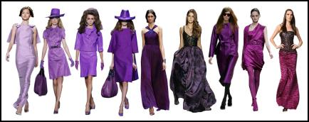 Autumn colours 2008 - Purple tones - The inky blues meld into aubergines and rich purples and as you can see below designers ran through the whole of the purple/lilac colour range from lilac right through to dark aubergine, damson and plum puce.