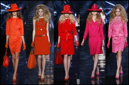 Autumn fashion colour trends 2008/9 - Dior showed a range of red garments that moved through tones of orange, coral, tomato red to hot deep pinks.