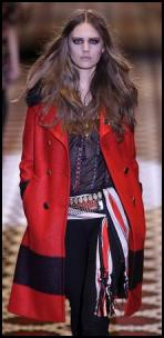 Folky fashion trends Autumn 2008 - Gucci garnet red large stripe boucl� double breast coat and black embroidered wool chiffon tunic top, shetland red and ivory Kirov pattern cotton and silk scarf with fringes.