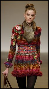 Matthew Williamson colourful folk boho flower embroidered garment with fur neck wrap. Autumn/winter 2008 fashion trends.