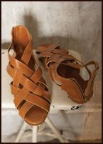Pl�mo Belle Sandals �89 - Fabulous sandals made from tan coloured, lattice woven leather and back zip.
