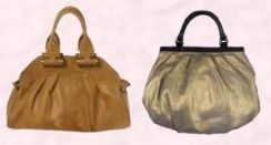 Tan Rocked bag by Dune in dark tan, �85/�120.  Billy Bag - Molly style burnished old gold tone handbag in balloon puffy framed style - �140 from the Cruise Collection, Winter 07/08.