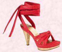 Shoe 6 - Shelly's Joanne red high sandal at �45 from Shelly's Spring/Summer 2008 range.
