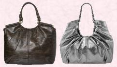 allis Spring summer 2008 black oversized lizard tote shopper �30, �47. Silver tote from New Look.