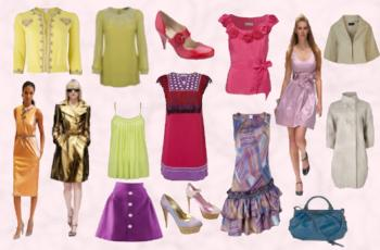 Spring fashion trends 2008 colour palette.  The latest fashion trendsetter colours of Spring Summer 2008 from Pantone are clear and bright.  This garment collage, illustrates the Spring 2008 colour palette.