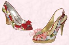 Spring 2008 fashion trends must-have shoes.   Kinn Wedge floral print shoe by Dune with red bow and insertion trim - �85 or �120. Kerala Sandal by Dune with check bow and red piped sling strap - �75 or �105.