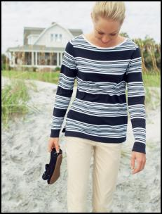 Lands' End Spring/Summer 2008 - Stripe Boatneck T-shirt �25, Slim-leg Chino Crops �35  Nautical fashion trends at fashion-era.