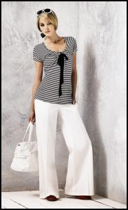 BHS Nautical Fashion T-shirt �14, Wide Leg Trousers �25, Pumps �15, Bag �22.  Nautical fashions at fashion-era.