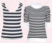 River Island Clothing Co. Ltd - Womenswear Tops SS08  �16.99/�28.50. Stripy Polo Neck T-shirt - Nautical Collection - Cassie - �10.