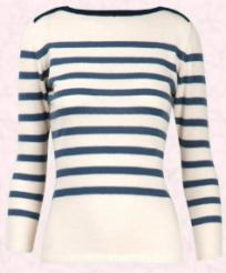Nautical fashions at fashion-era. For true luxury this lovely cashmere cream and navy Breton sweater, with its boat neck, is ideal for wearing on a walk along a British or Rhode Island coastal path.  This 100% cashmere knit is a nautical classic and the lightly shaped body would always sit well under a classic nautical jacket.  Price �345 from matches.com.
