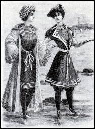 Fashion-era fashion plate of two women wearing nautical influenced serge swimming costumes of 1905.