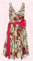 Fabulously floral fashion trend, Wallis Spring Summer 2008 floral georgette dress with corsage �35, �55.  Spring fashion trend 2008
