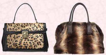 Leopard print bag with gold lock �175/�210 by Episode at House of Fraser. Faux fur bowling bag �89/�107 by Linea.