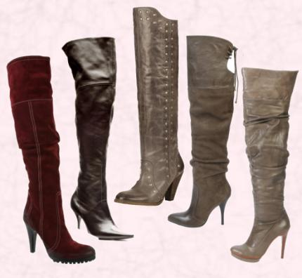 Red, brown and beige over the knee winter boots with heels.